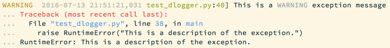 A log message with a stack trace printed by the logger.